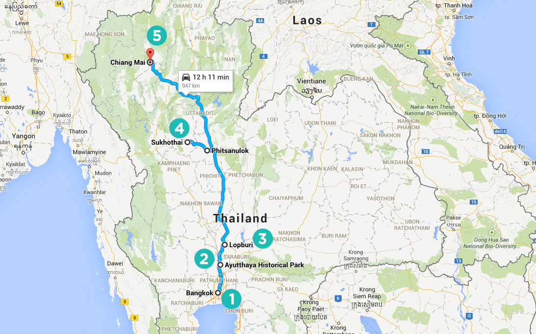 Thailand Temples Hopping Map Itenarary