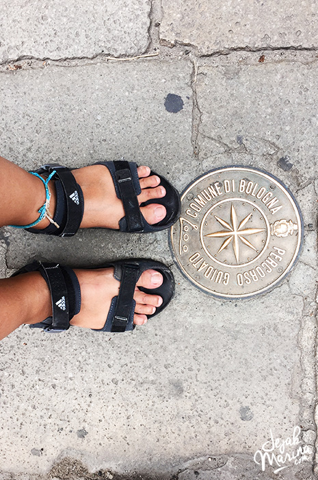 My feet in Bologna Italy